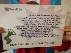 "A young trans person holding a sign with ""Trans Youth - it's time to listen"" printed at the bottom. They are holding it over their face  on it have  written in black marker ""So, let's be real. If someone says they're trans BELIEVE THEM. No one other than them knows what's going on in their head aside them so you can't  be the one to judge. It doesn't matter if a year, a month or even a day later they stop using those pronouns/ label it doesn't make that time less valid! If they realise when they're 5, 15, 50 or even more, it's no less valid! Respect Pronouns, even if you dislike them If confused ask, if you misgender them, take criticism! It's not up to you their identity!"