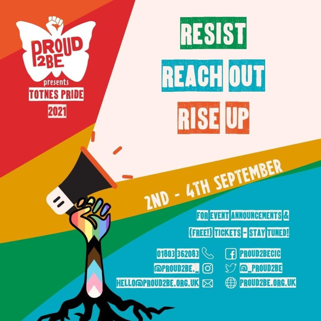 """A background of curved diagonal stripes in rainbow colours. A butterfly fist logo at the top left reads """"PROUD2BE presents TOTNES PRIDE 2021"""". Beneath this is a progress flag patterned fist growing up from roots. A cream spotlight beam emerges from a megaphone held in the clenched fist. The words """"RESIST, REACH OUT, RISE UP"""" are emblazoned in green, blue and orange across the spotlight. Event information identical to that in this caption is listed at the lower right."""